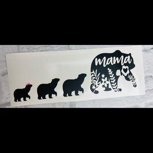 New Mama Bear 3 Cubs Black Vinyl Decal Sticker